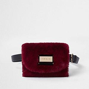 Dark red faux fur buckle belt bum bag