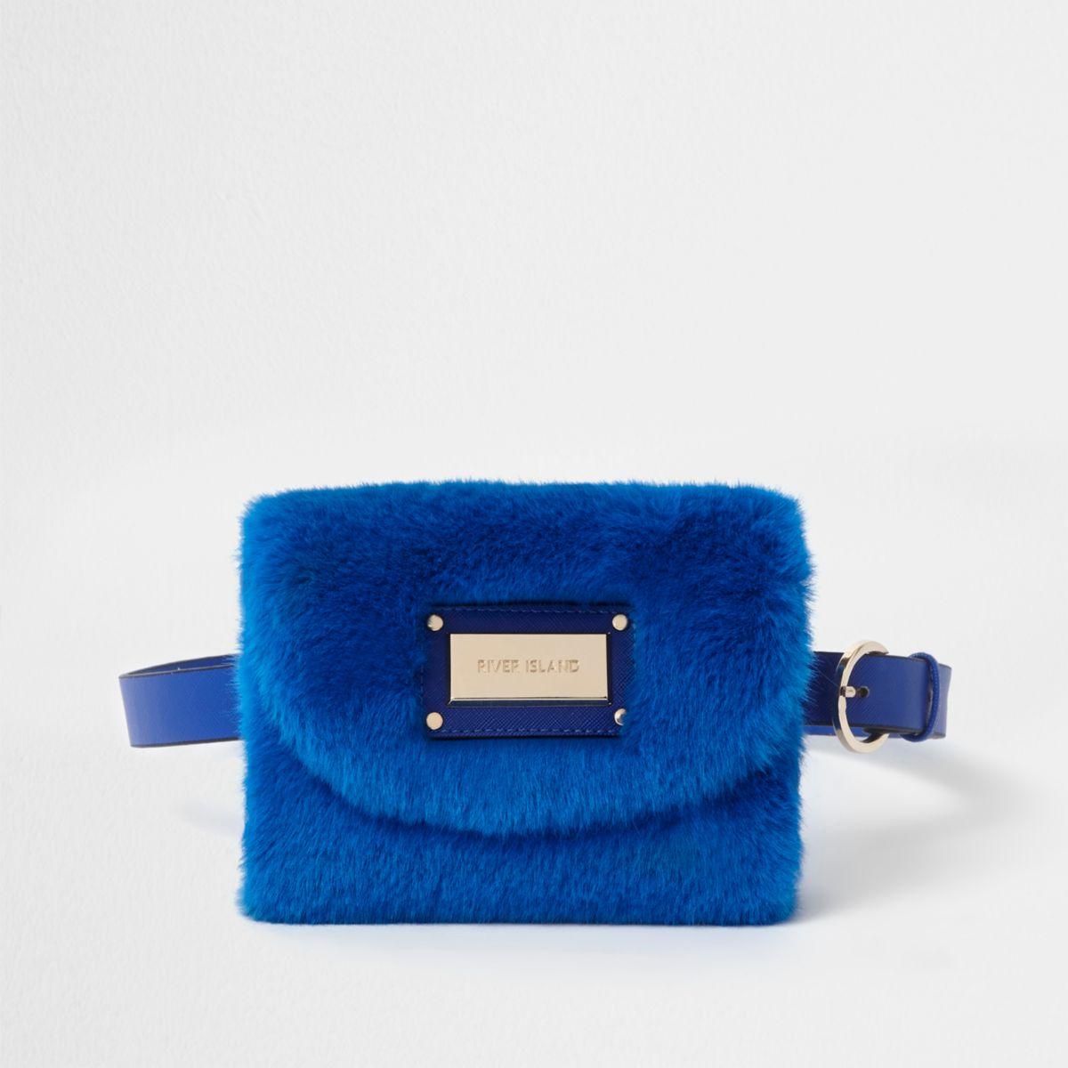 Blue faux fur buckle belt bum bag