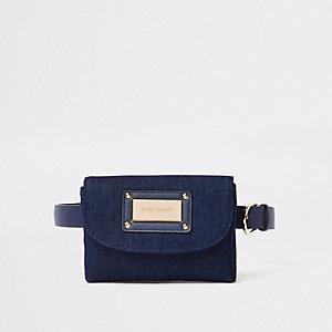 Blue denim belted bumbag