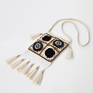 Cream embellished tassel cross body bag