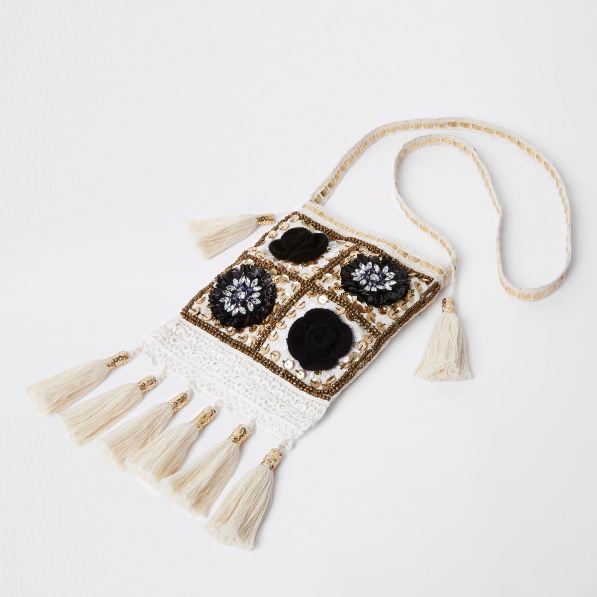 Cream embellished tassel cross body bag