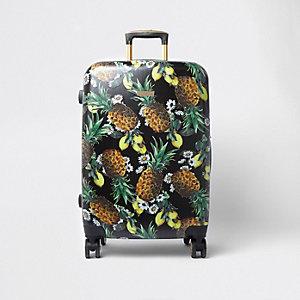 Zwarte grote koffer met vier wielen en ananasprint