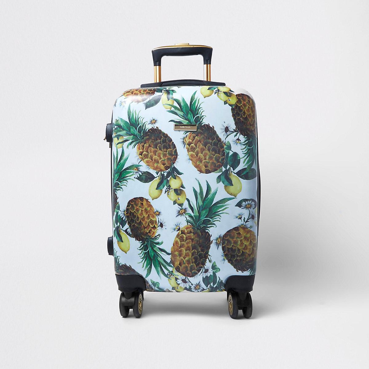 Blue pineapple plastic four wheel suitcase