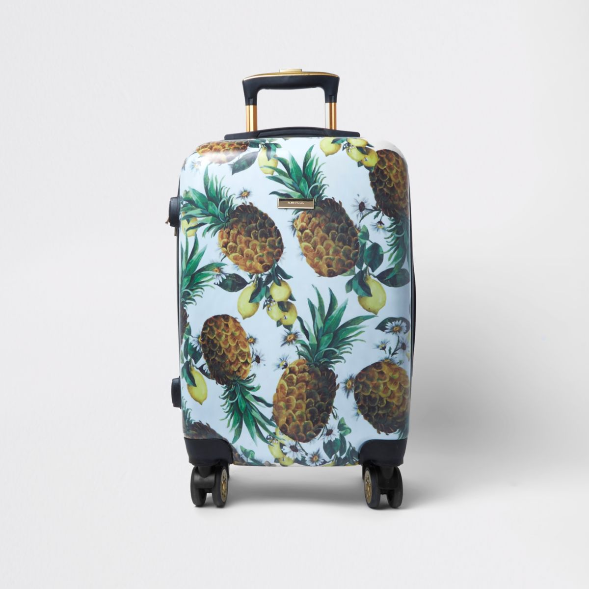 Blue pineapple plastic four wheel suitcase