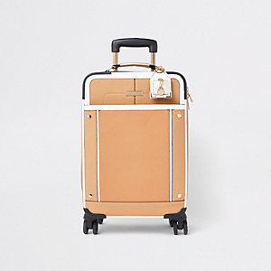 Beige front pocket four wheel suitcase