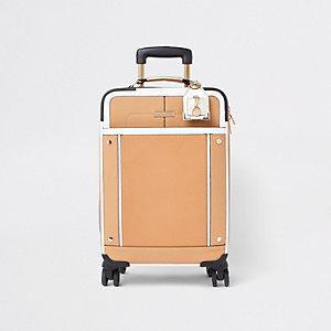 Valise beige à poche avant et quatre roulettes