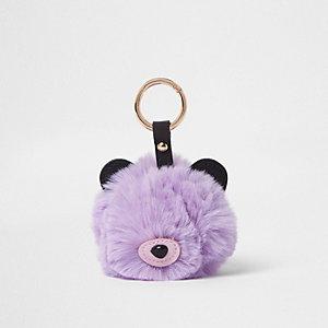 Purple faux fur bear pom pom keyring