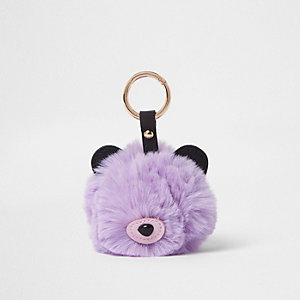 Purple faux fur bear pom pom keyring