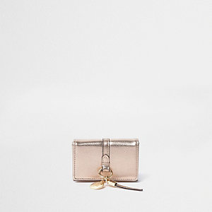 Rose gold metallic mini foldout purse