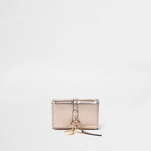 Mini portefeuille à rabat or rose métallisé