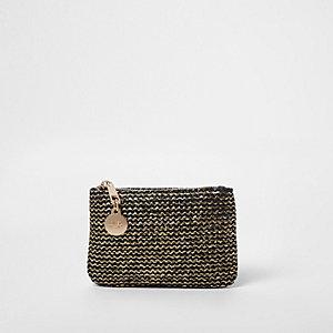 Gold metallic woven pouch purse