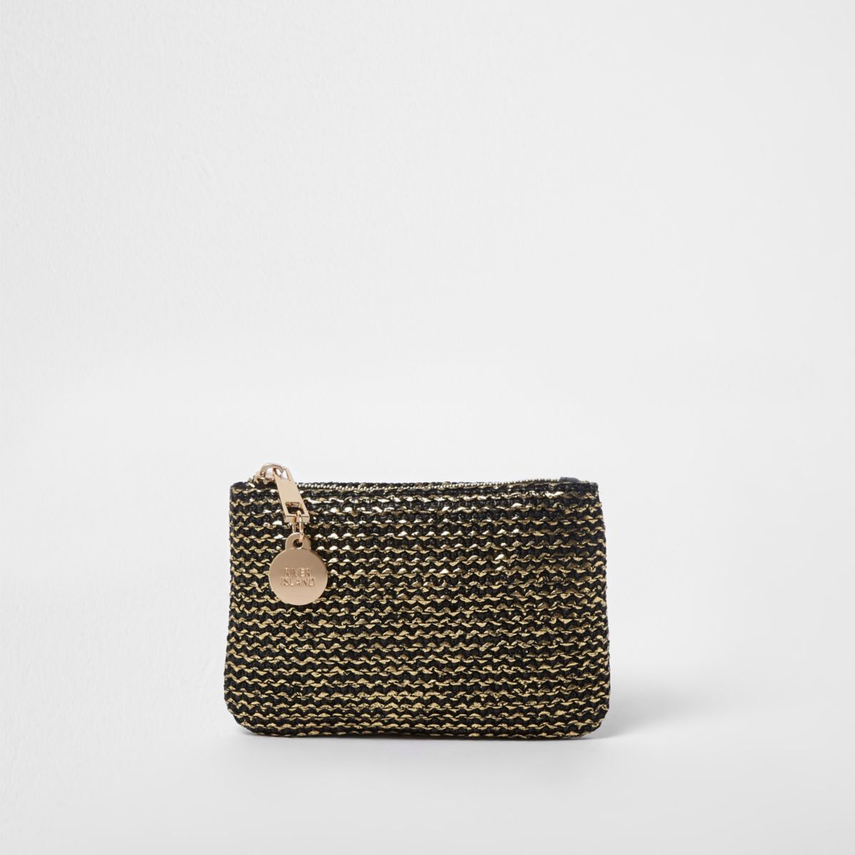 Gold metallic woven pouch purse