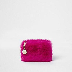 Porte-monnaie en fausse fourrure rose