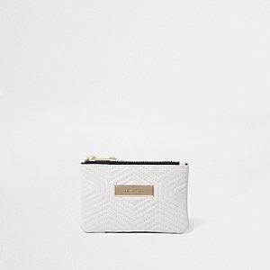 Mini porte-monnaie crème matelassé sur le devant