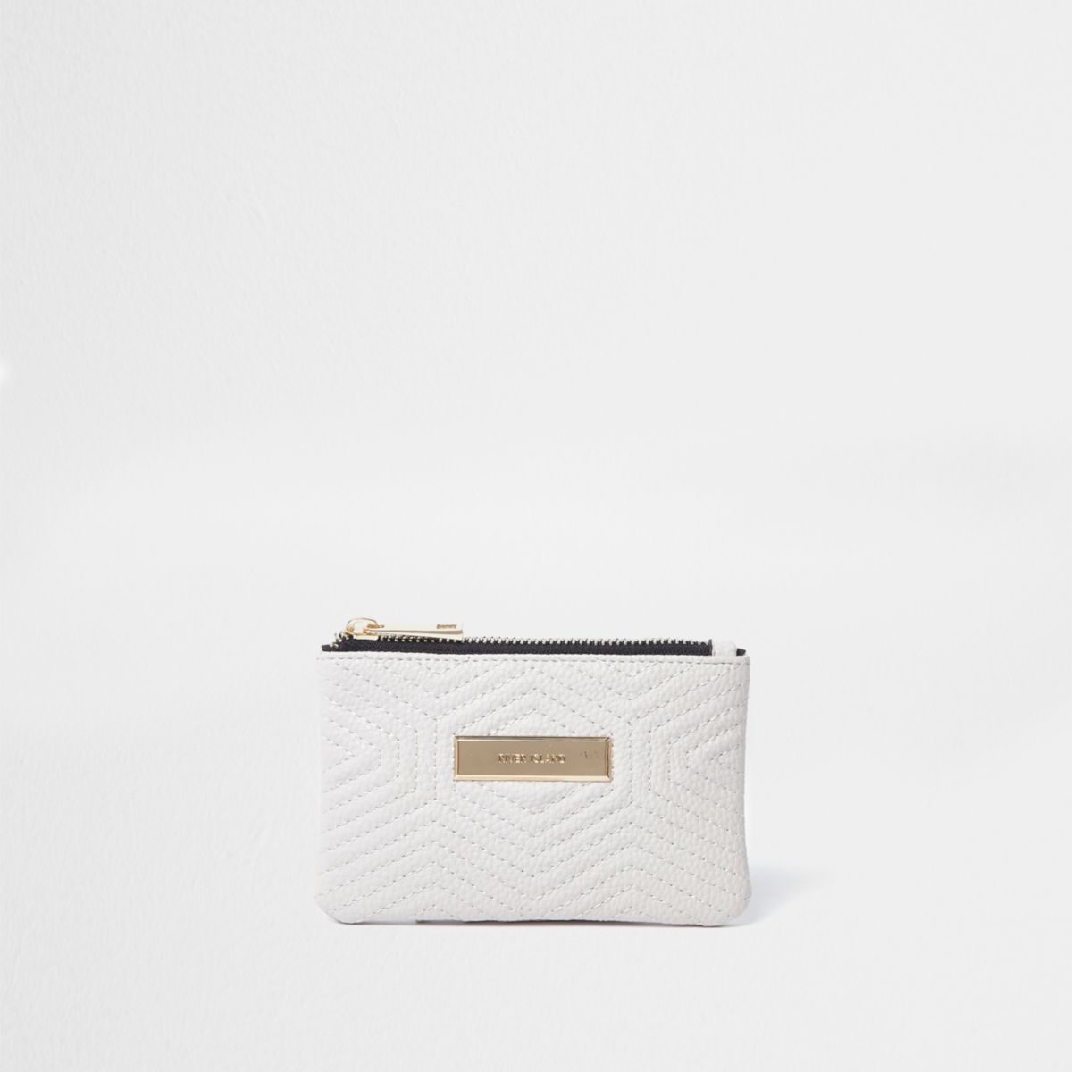 Cream quilted front mini purse