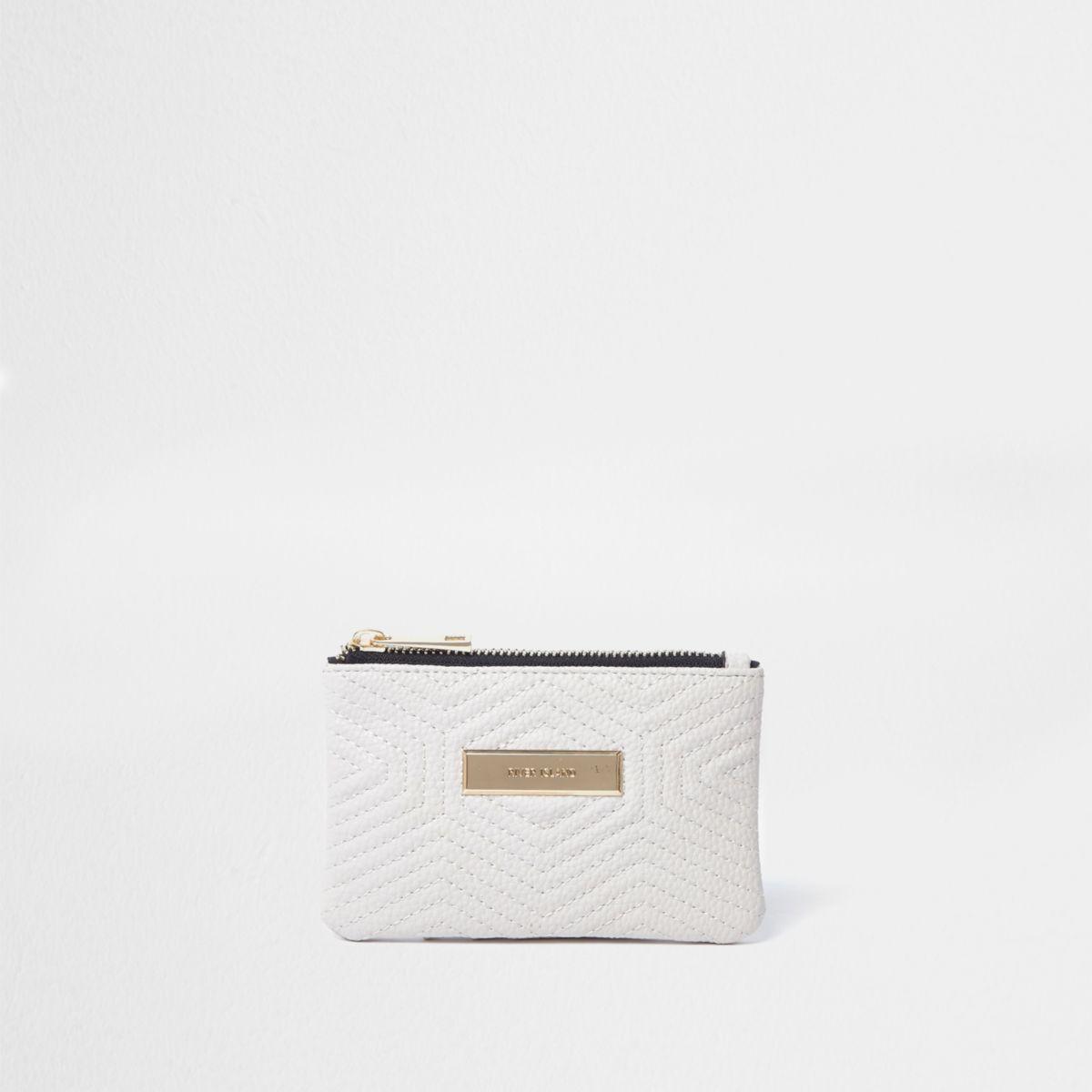Crème kleine handtas met doorgestikte voorkant