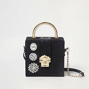 Black woven jewel cross body box bag
