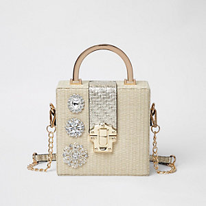 Beige metallic woven jewel cross body box bag