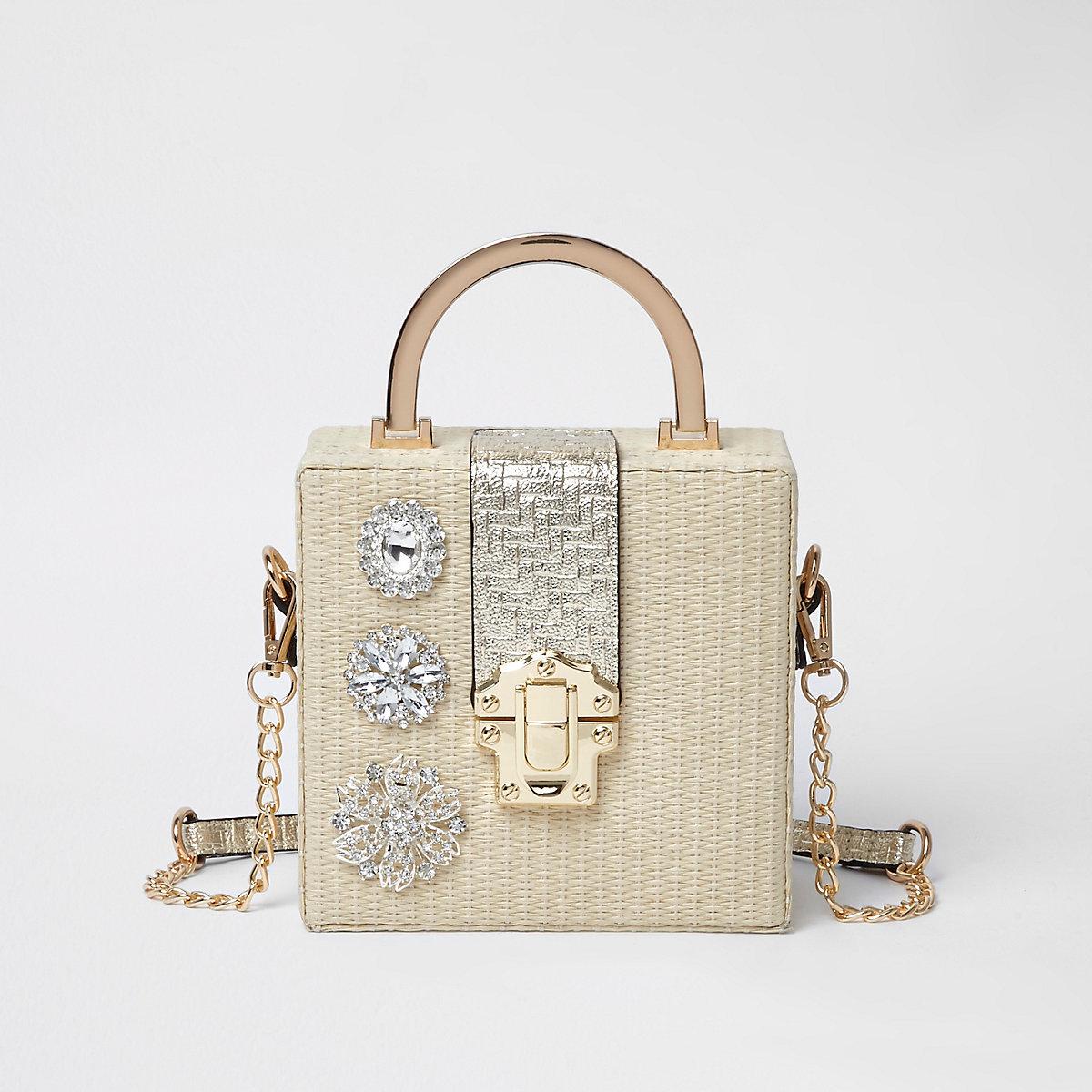 Beige metallic woven jewel cross body box bag
