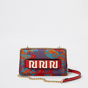 Purple jacquard RI branded underarm chain bag