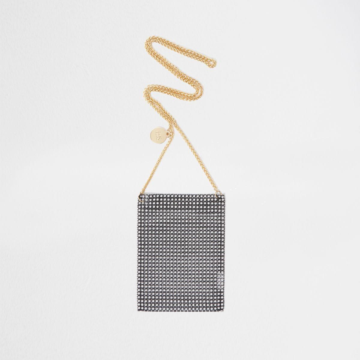 Black rhinestone cross body chain pouch bag