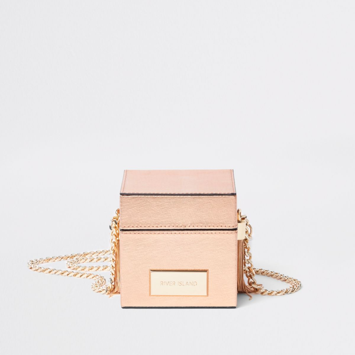 Rose gold box shaped cross body bag