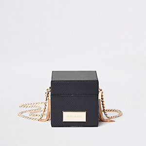 Black box shaped cross body bag