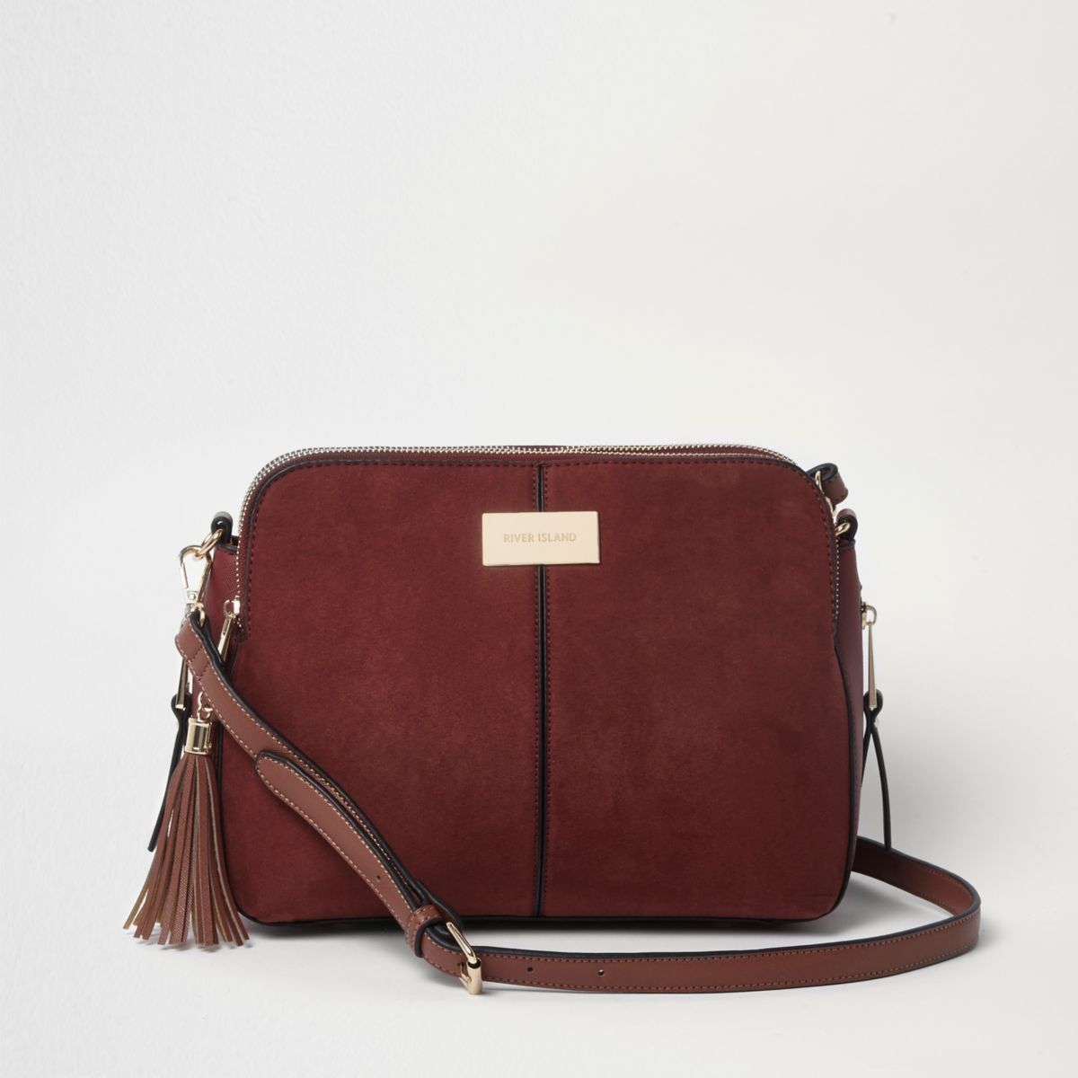 Rust red triple compartment cross body bag