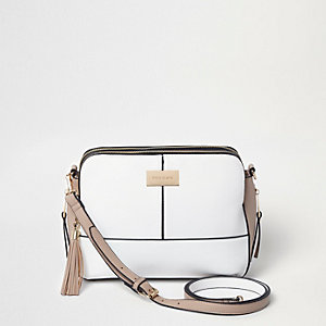 White triple compartment medium crossbody bag