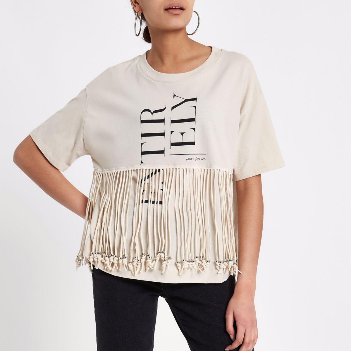 Beige recht T-shirt met kwastjes en 'Entirely'-print