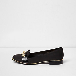 Black wide fit chain front slippers