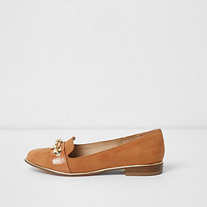 Tan wide fit chain front slippers