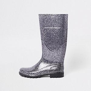 Zilverkleurige regenlaarzen met glitter