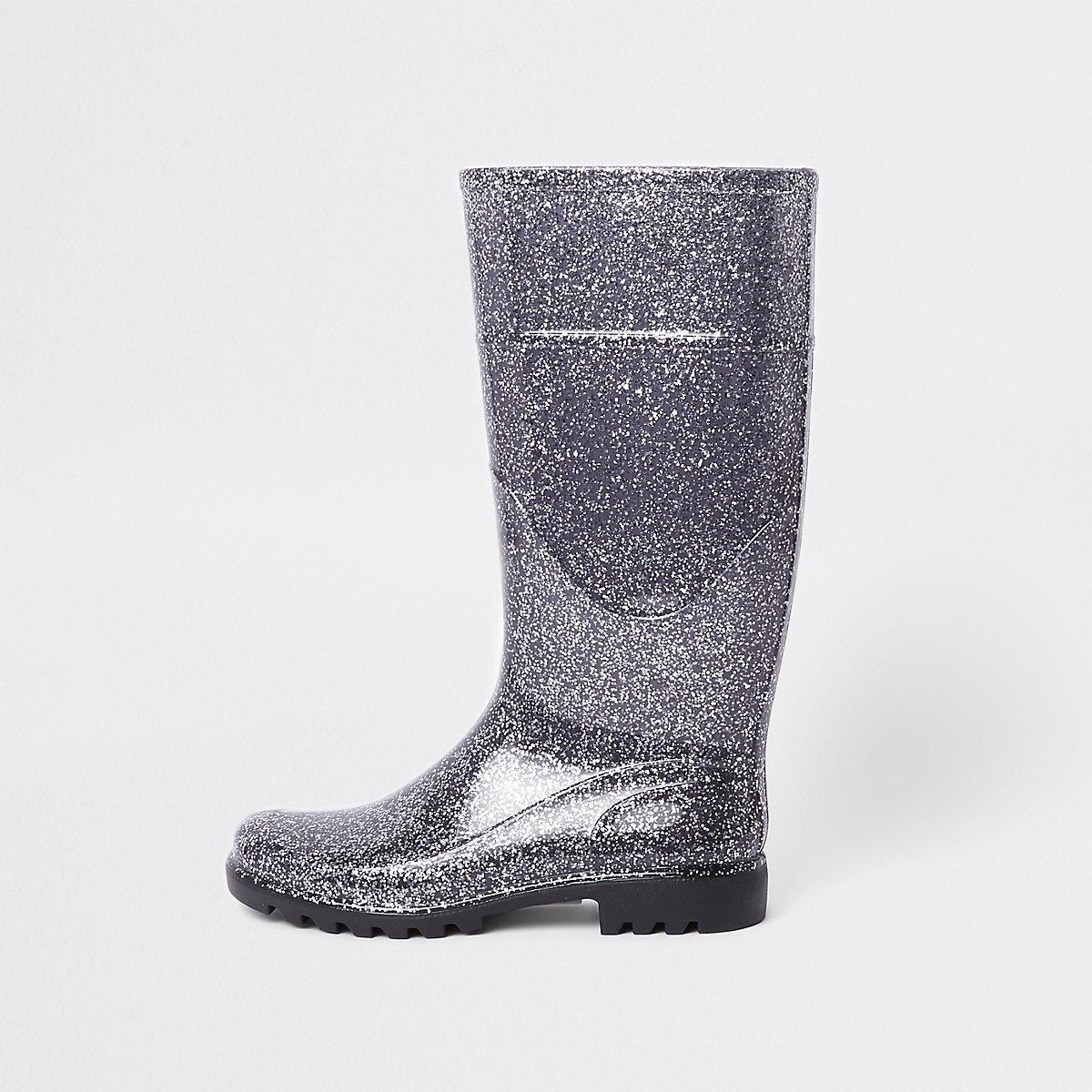 Silver glitter wellie boots