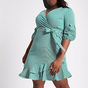 Plus green stripe wrap puff sleeve dress