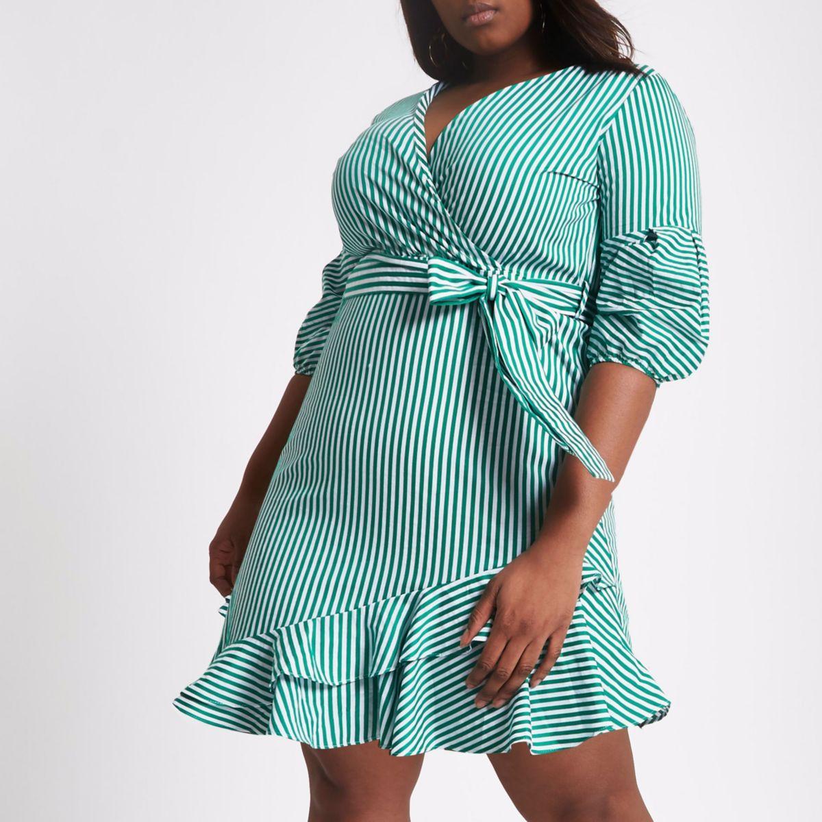 Plus green stripe wrap puff sleeve dress