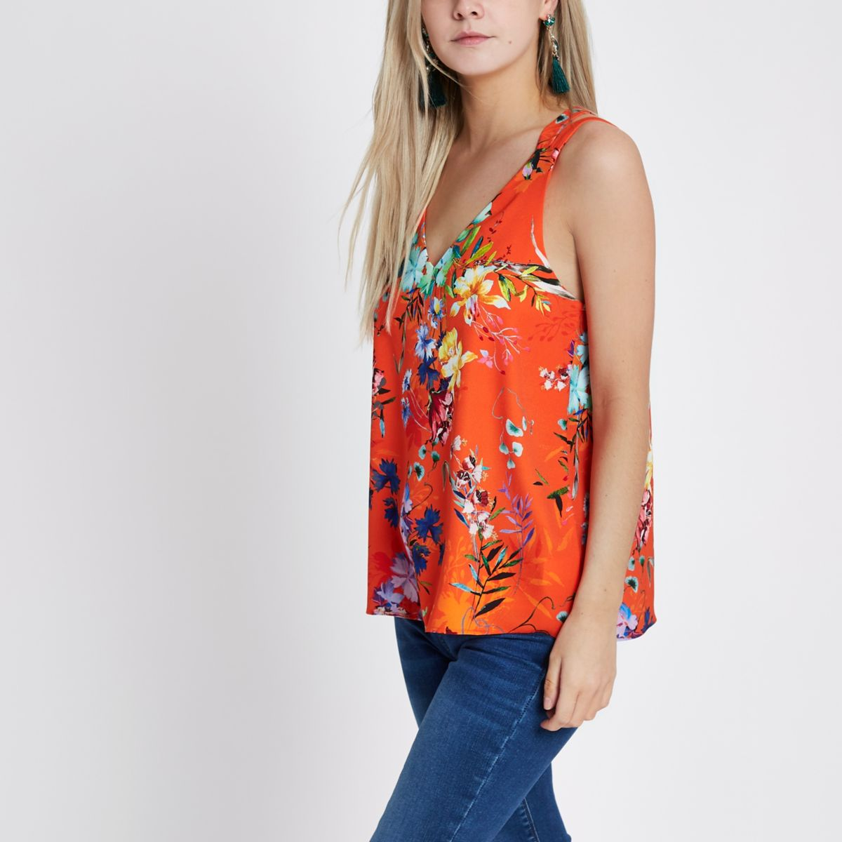 Petite orange floral cross back cami top