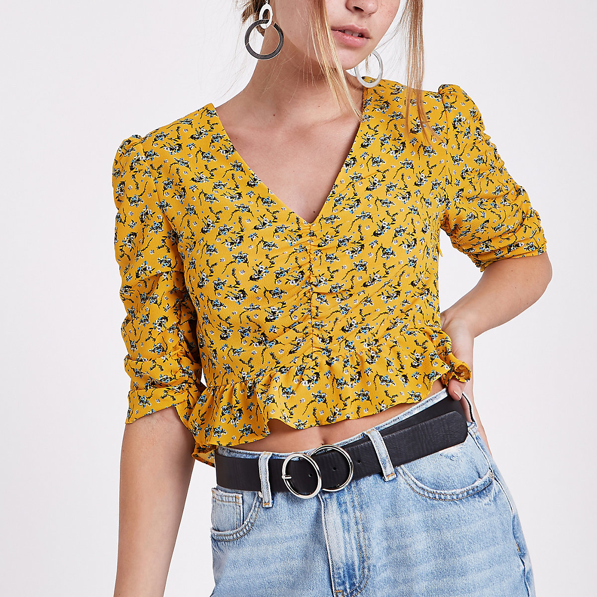 Petite yellow ditsy ruched puff sleeve top