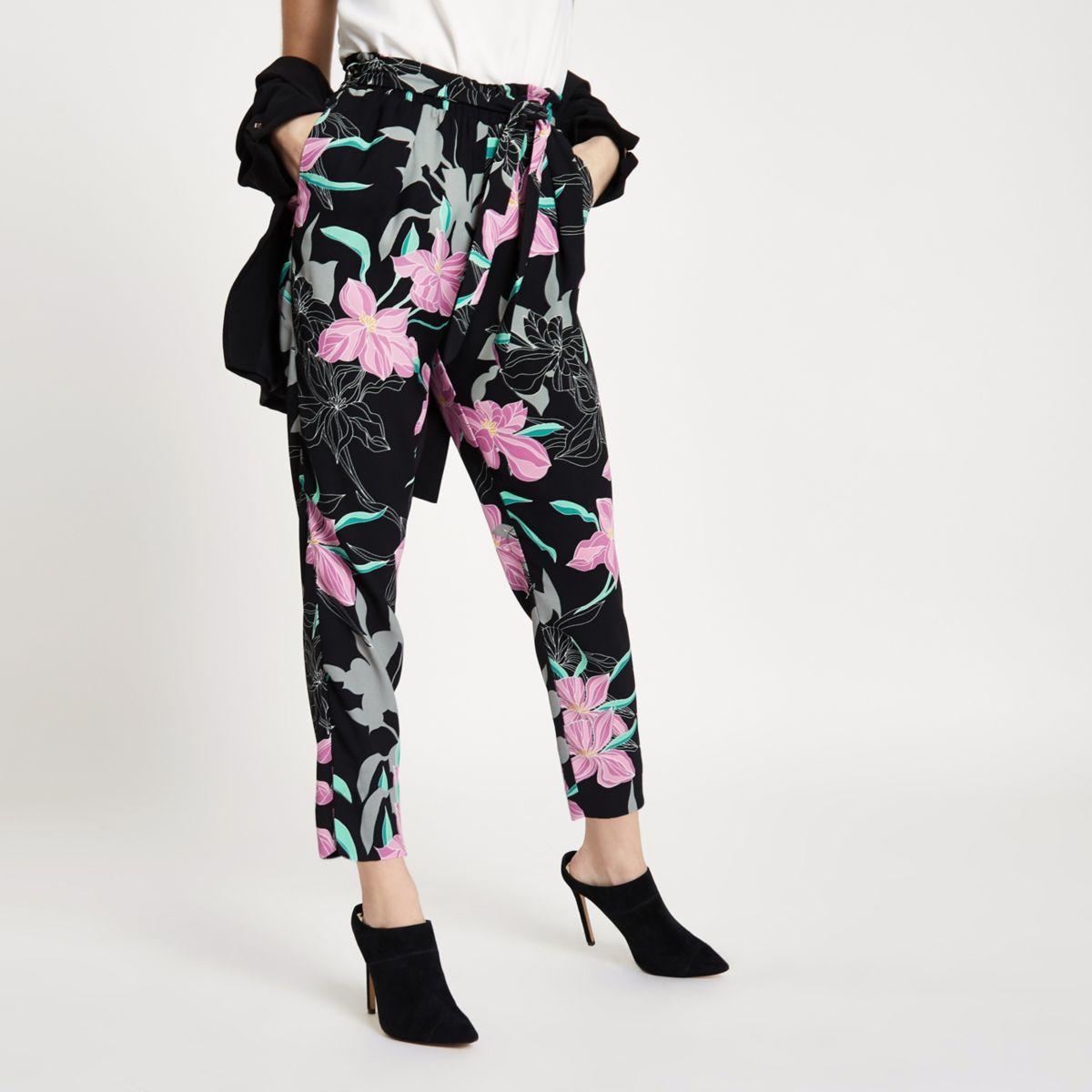 Petite black floral tie waist tapered pant