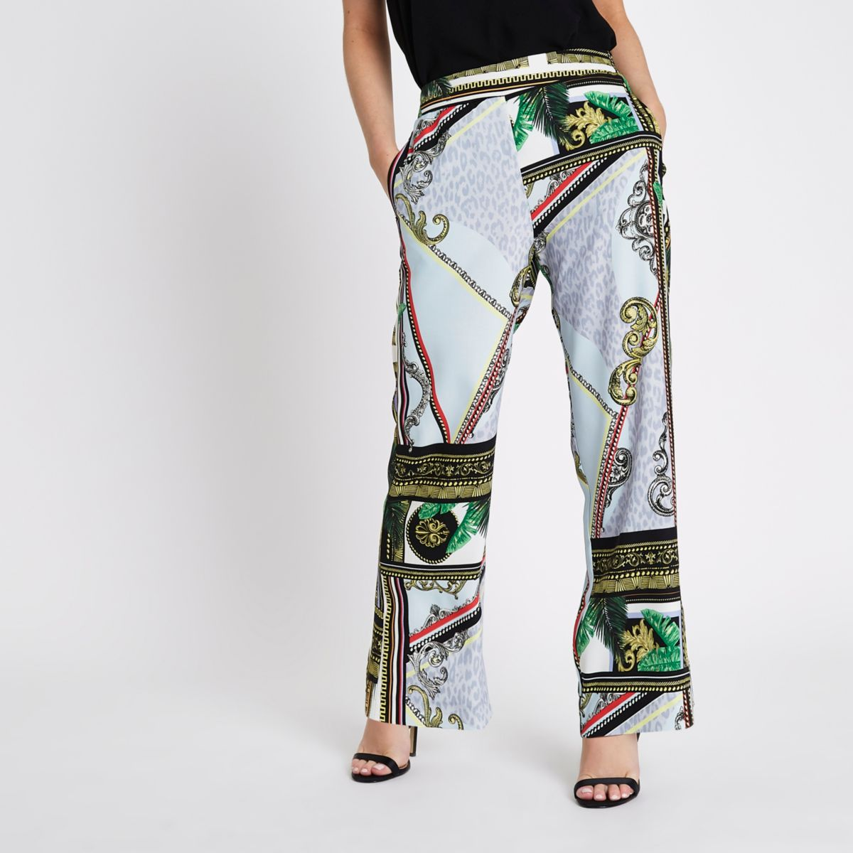 Petite green baroque wide leg trousers