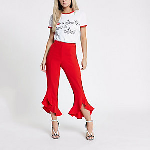 Petite red split frill hem trousers