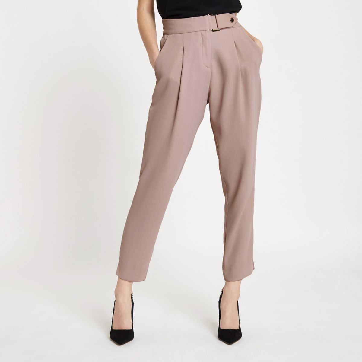 Petite blush pink belted tapered trousers