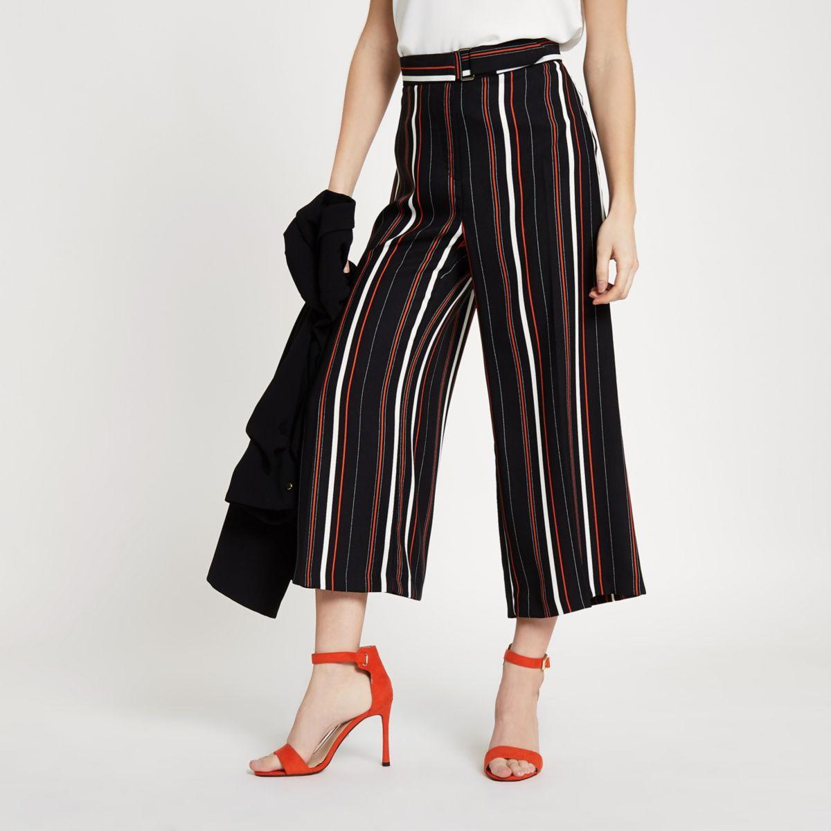 Petite black stripe belted culottes