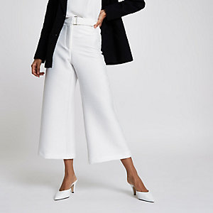 Petite white cropped wide leg culottes