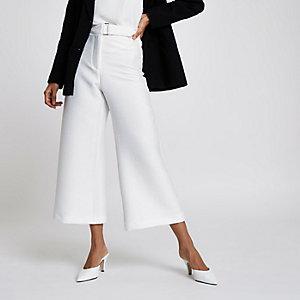 Petite – Jupe-culotte blanche courte et large