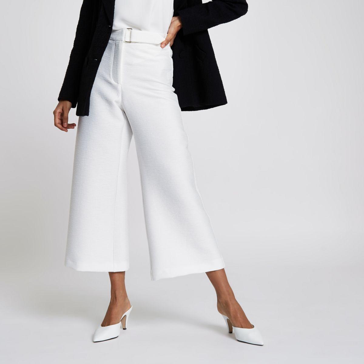 Petite white cropped wide leg culottes