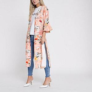 Petite – Manteau long à imprimé oriental rose clair