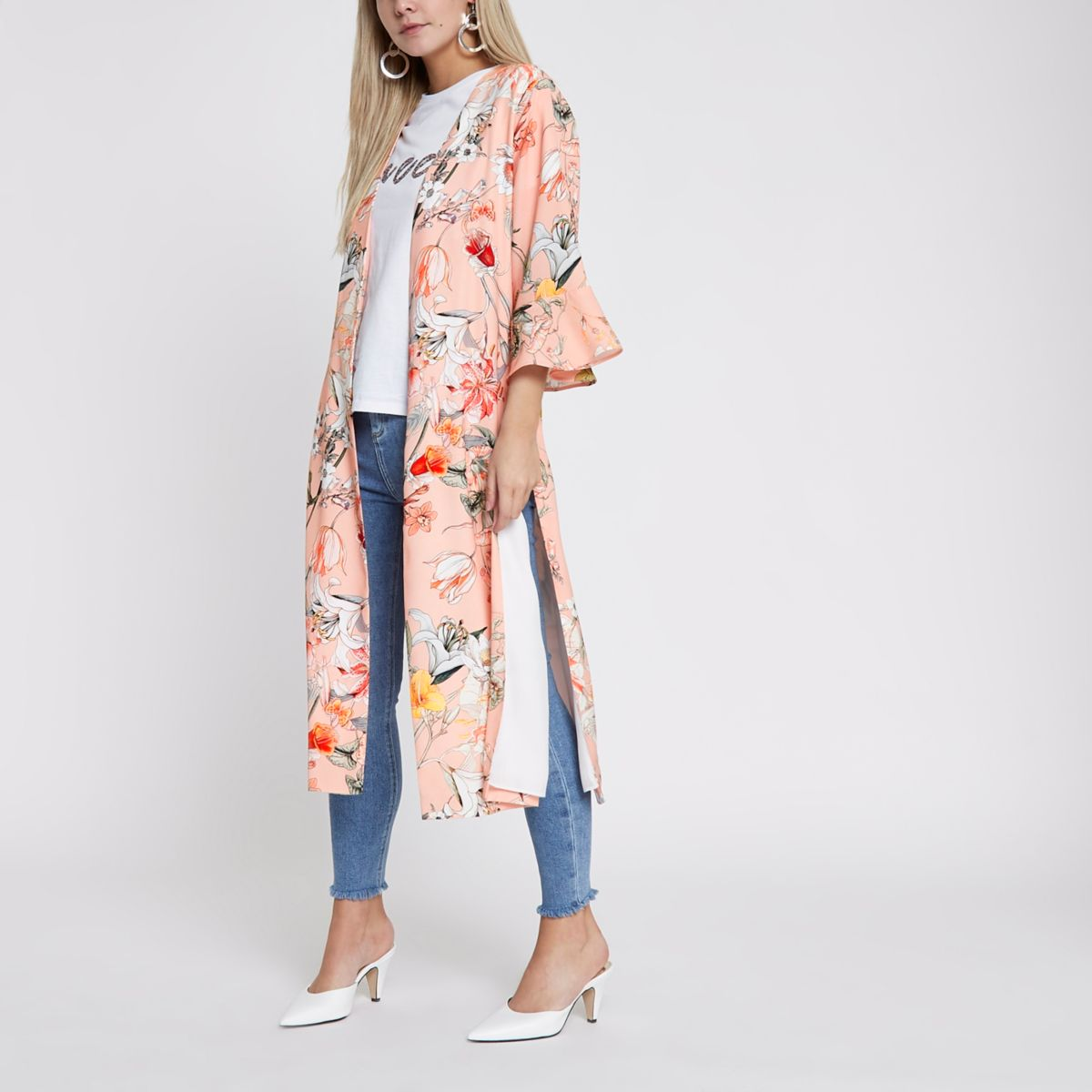 Petite light pink oriental print duster coat