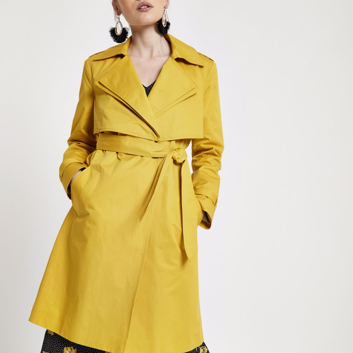 Petite mustard yellow belted trench coat
