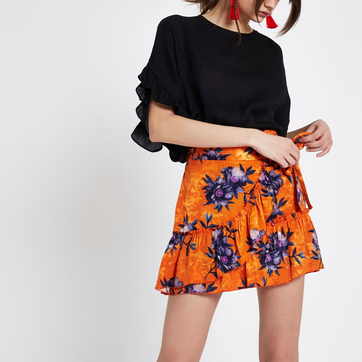 Orange floral jacquard frill wrap mini skirt